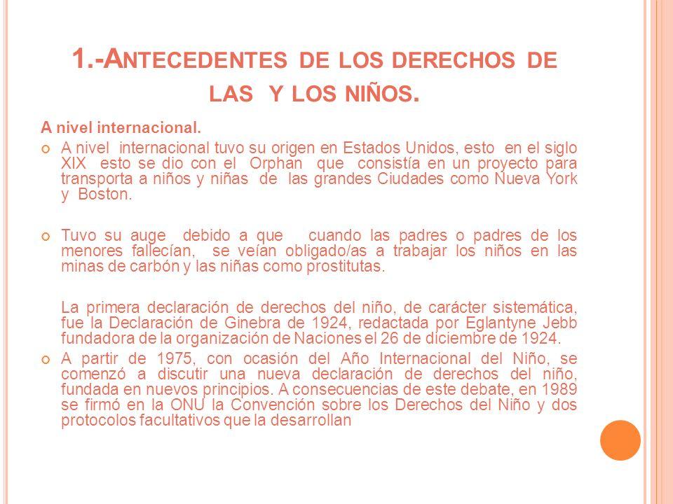 1.-A NTECEDENTES DE LOS DERECHOS DE LAS Y LOS NIÑOS. A nivel internacional. A nivel internacional tuvo su origen en Estados Unidos, esto en el siglo X