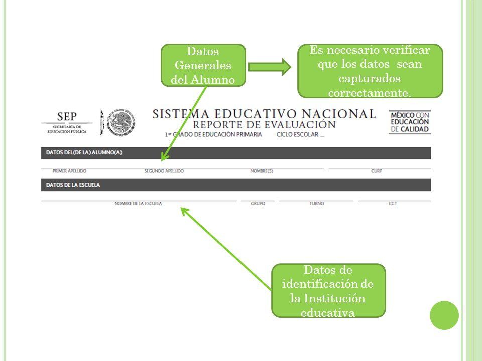 Datos Generales del Alumno Es necesario verificar que los datos sean capturados correctamente.