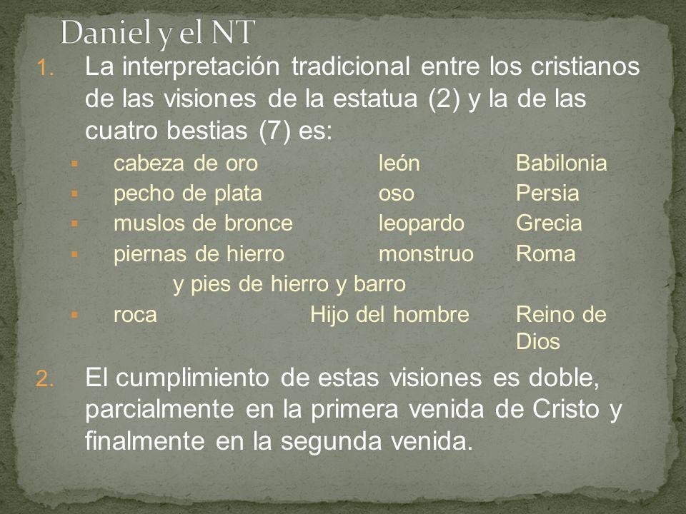 1. La interpretación tradicional entre los cristianos de las visiones de la estatua (2) y la de las cuatro bestias (7) es: cabeza de oroleónBabilonia
