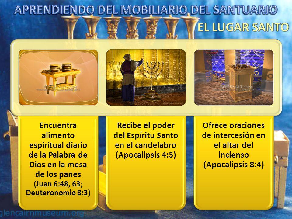 Encuentra alimento espiritual diario de la Palabra de Dios en la mesa de los panes (Juan 6:48, 63; Deuteronomio 8:3) Recibe el poder del Espíritu Santo en el candelabro (Apocalipsis 4:5) Ofrece oraciones de intercesión en el altar del incienso (Apocalipsis 8:4)