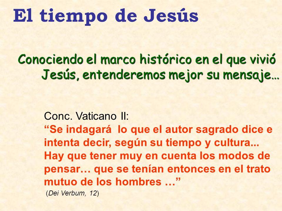 El tiempo de Jesús Conc. Vaticano II: Se indagará lo que el autor sagrado dice e intenta decir, según su tiempo y cultura... Hay que tener muy en cuen
