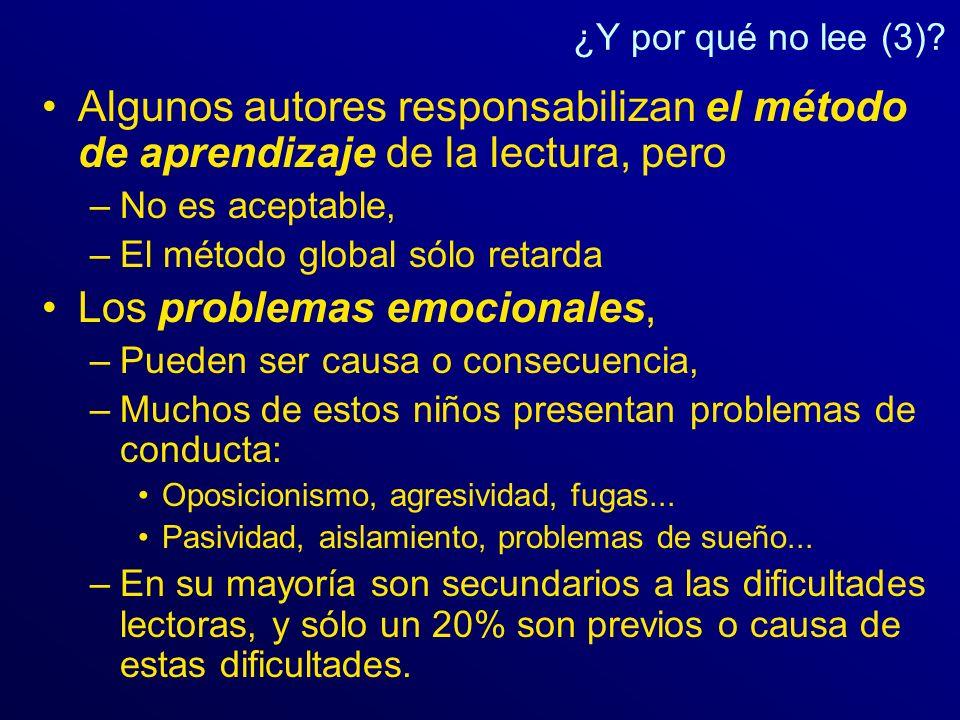 ¿Y por qué no lee (3)? Algunos autores responsabilizan el método de aprendizaje de la lectura, pero –No es aceptable, –El método global sólo retarda L