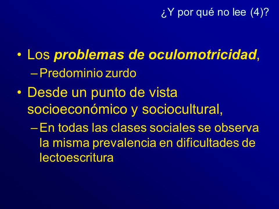 ¿Y por qué no lee (4)? Los problemas de oculomotricidad, –Predominio zurdo Desde un punto de vista socioeconómico y sociocultural, –En todas las clase