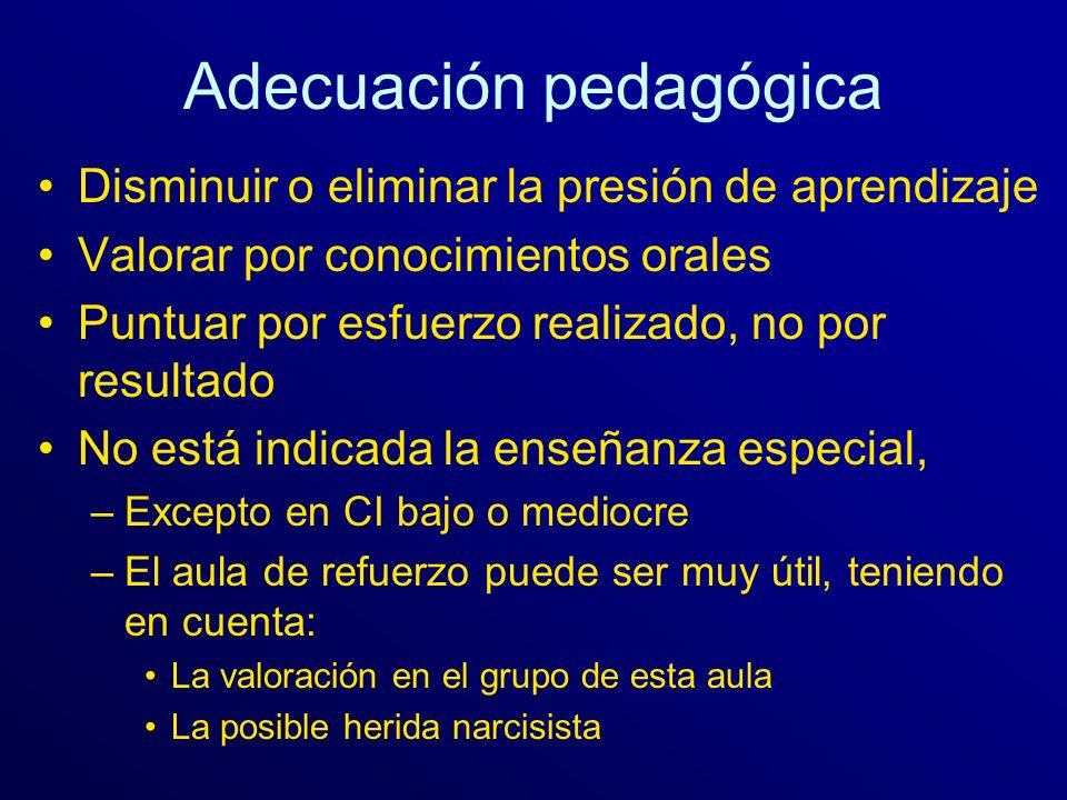 Adecuación pedagógica Disminuir o eliminar la presión de aprendizaje Valorar por conocimientos orales Puntuar por esfuerzo realizado, no por resultado