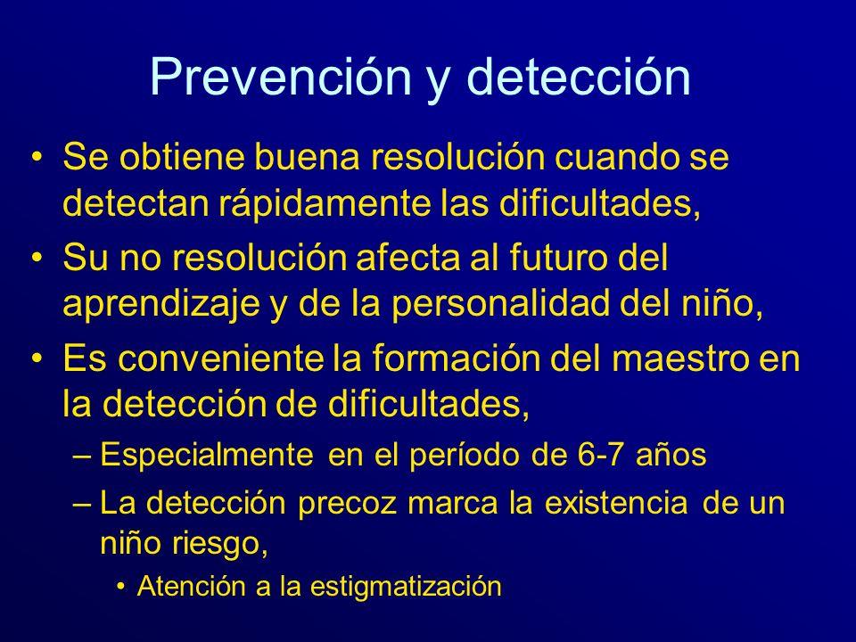 Prevención y detección Se obtiene buena resolución cuando se detectan rápidamente las dificultades, Su no resolución afecta al futuro del aprendizaje
