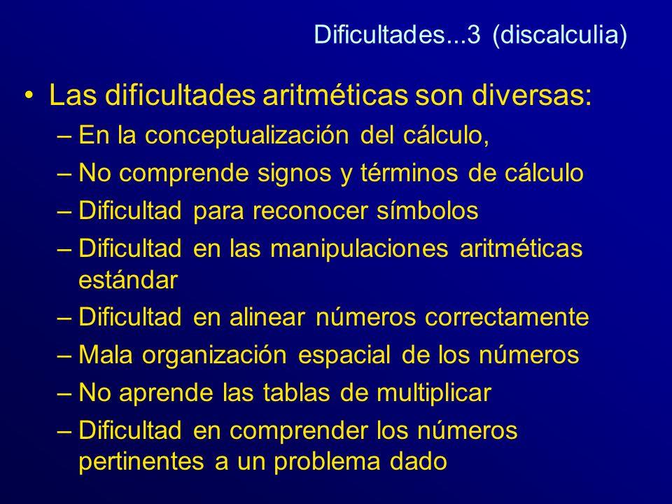 Dificultades...3 (discalculia) Las dificultades aritméticas son diversas: –En la conceptualización del cálculo, –No comprende signos y términos de cál