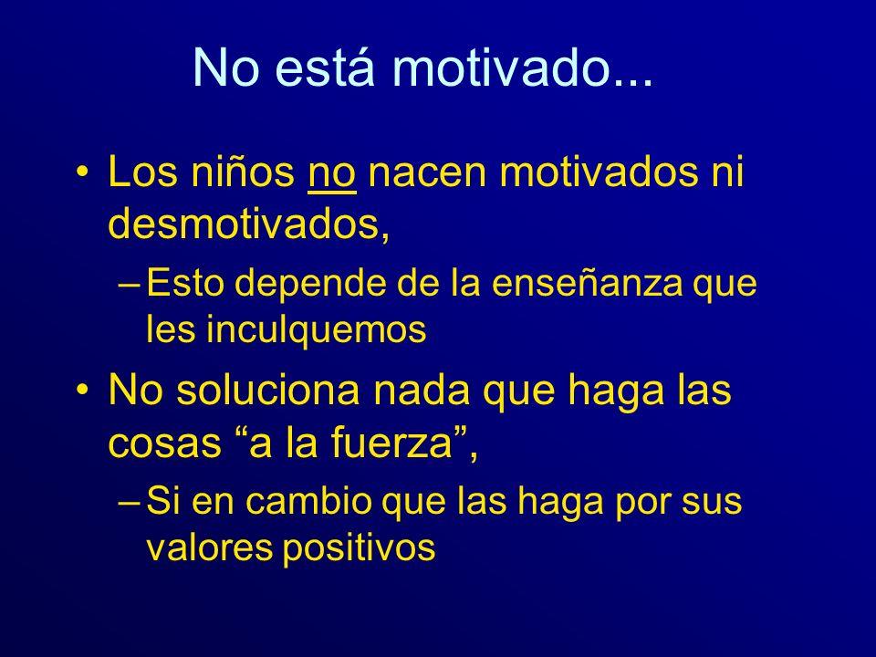 No está motivado... Los niños no nacen motivados ni desmotivados, –Esto depende de la enseñanza que les inculquemos No soluciona nada que haga las cos