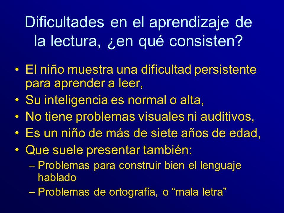 Dificultades en el aprendizaje de la lectura, ¿en qué consisten? El niño muestra una dificultad persistente para aprender a leer, Su inteligencia es n