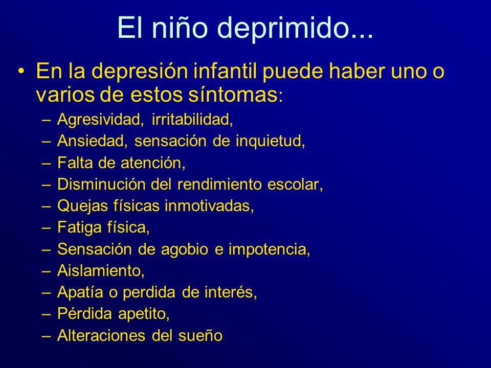 El niño deprimido... En la depresión infantil puede haber uno o varios de estos síntomas : –Agresividad, irritabilidad, –Ansiedad, sensación de inquie
