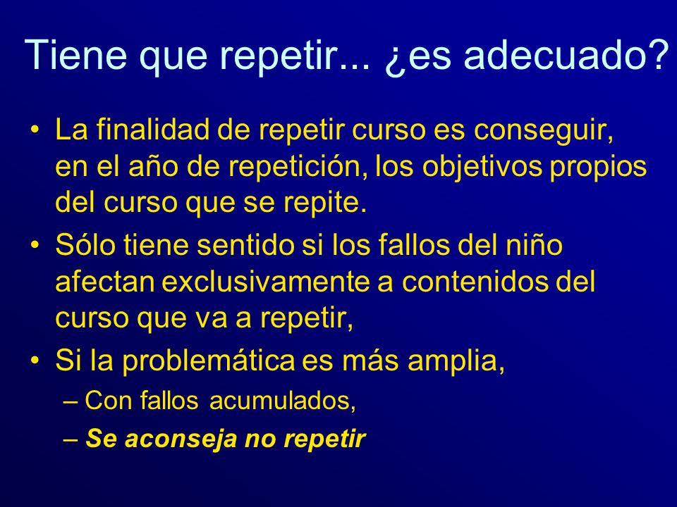 Tiene que repetir... ¿es adecuado? La finalidad de repetir curso es conseguir, en el año de repetición, los objetivos propios del curso que se repite.
