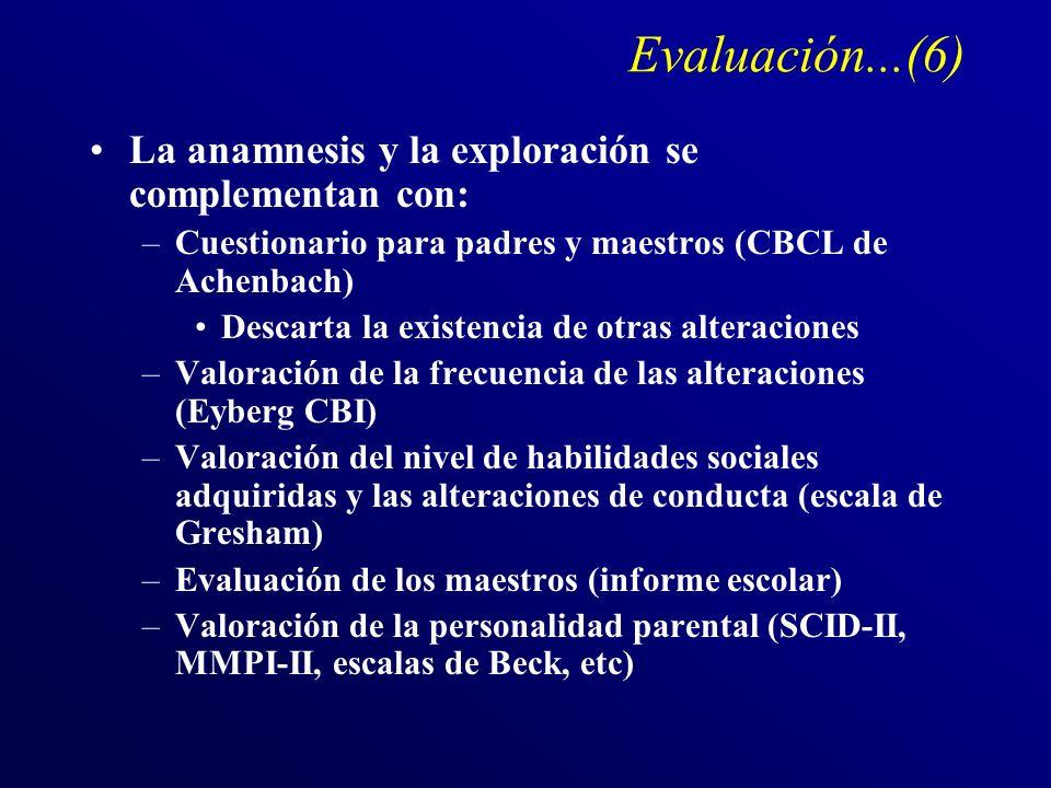 Evaluación...(6) La anamnesis y la exploración se complementan con: –Cuestionario para padres y maestros (CBCL de Achenbach) Descarta la existencia de