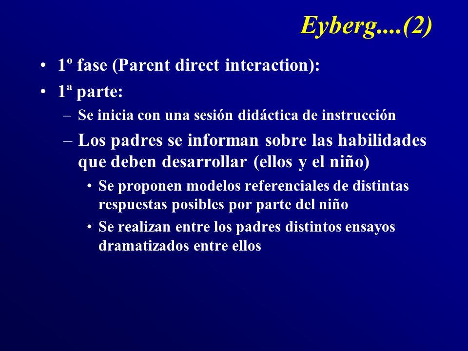 Eyberg....(2) 1º fase (Parent direct interaction): 1ª parte: –Se inicia con una sesión didáctica de instrucción –Los padres se informan sobre las habi