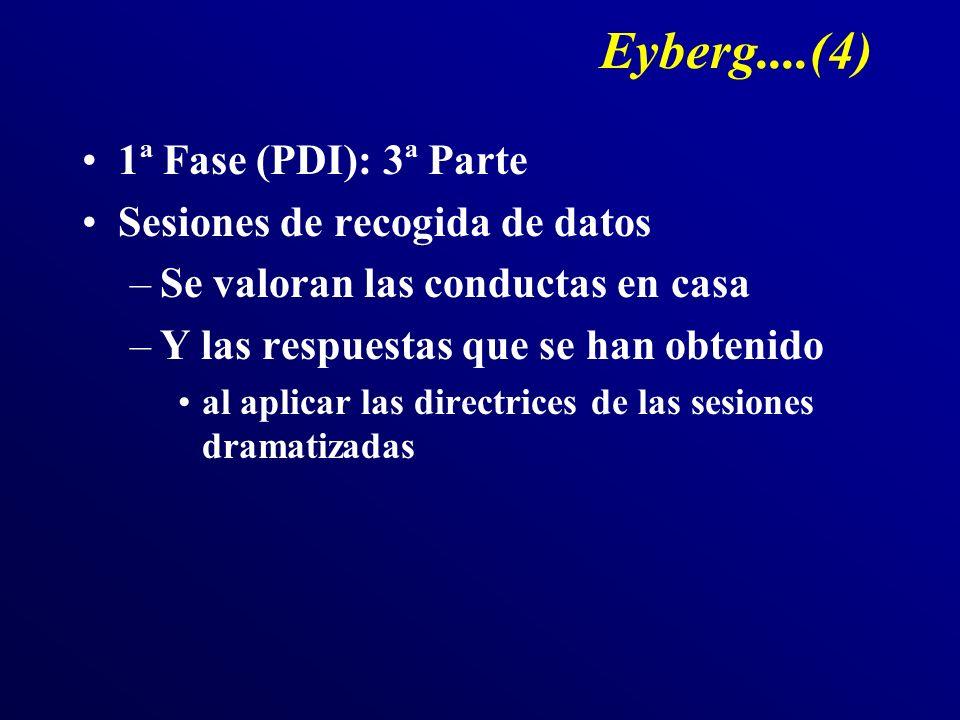 Eyberg....(4) 1ª Fase (PDI): 3ª Parte Sesiones de recogida de datos –Se valoran las conductas en casa –Y las respuestas que se han obtenido al aplicar