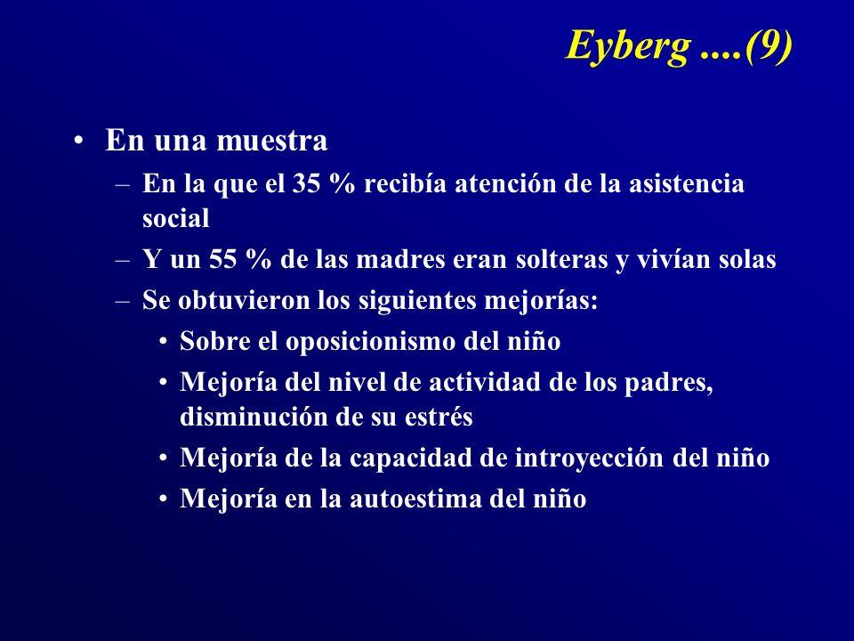 Eyberg....(9) En una muestra –En la que el 35 % recibía atención de la asistencia social –Y un 55 % de las madres eran solteras y vivían solas –Se obt