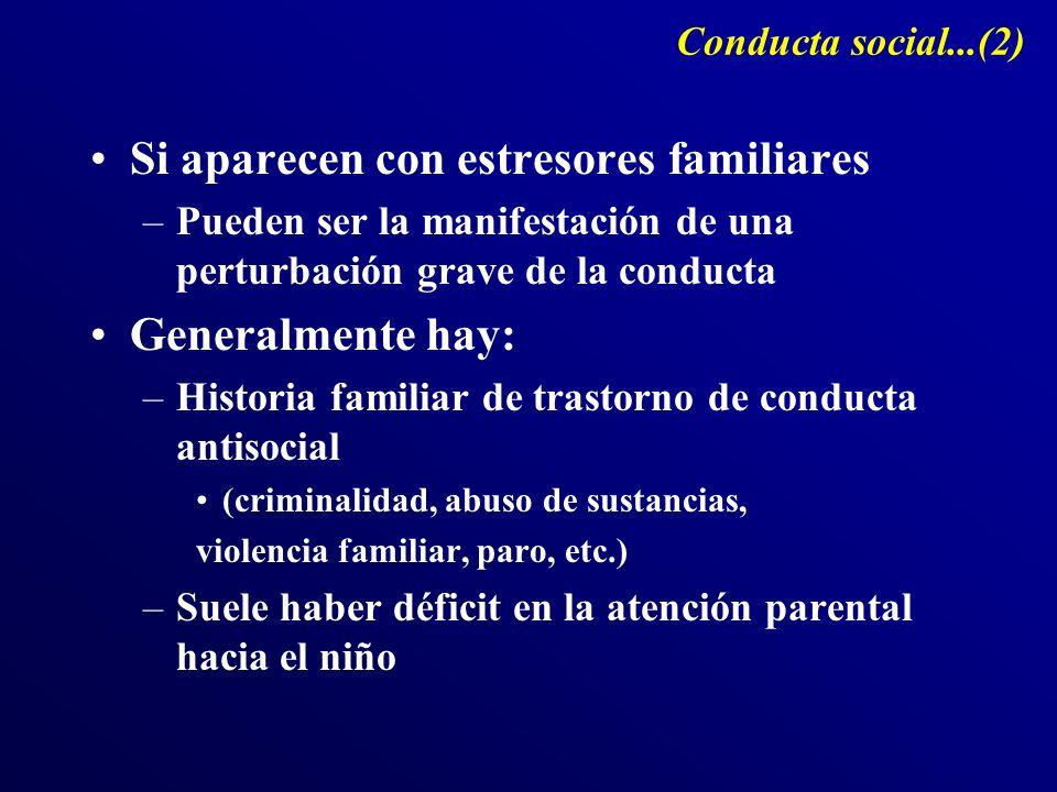 Conducta social...(2) Si aparecen con estresores familiares –Pueden ser la manifestación de una perturbación grave de la conducta Generalmente hay: –H