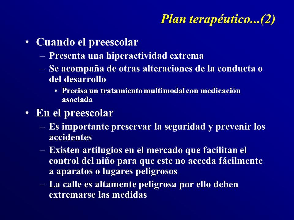 Plan terapéutico...(2) Cuando el preescolar –Presenta una hiperactividad extrema –Se acompaña de otras alteraciones de la conducta o del desarrollo Pr