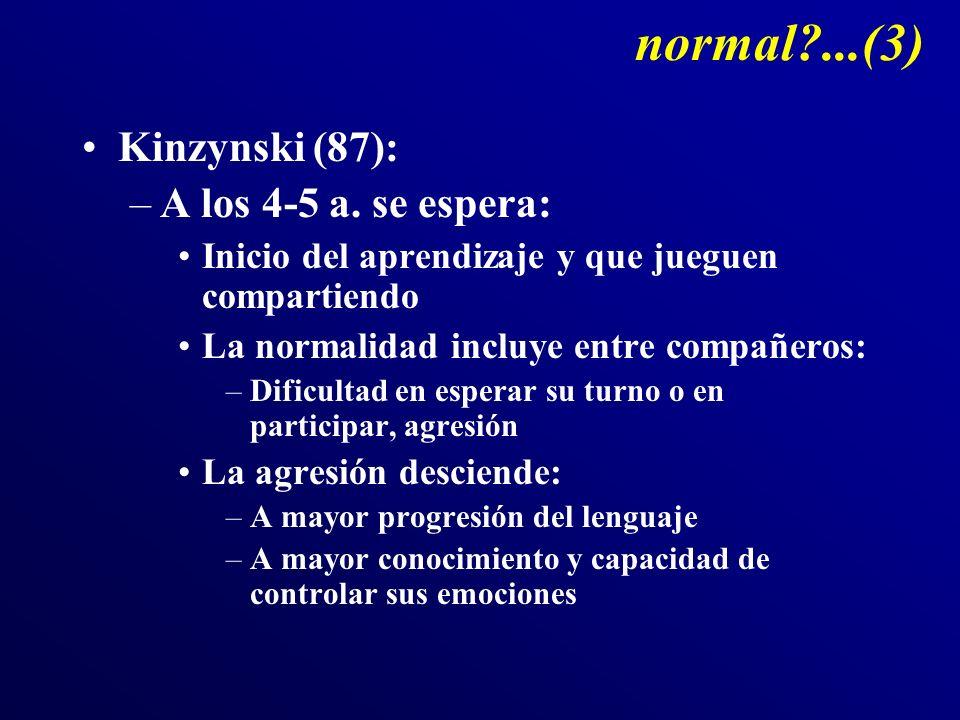 normal?...(3) Kinzynski (87): –A los 4-5 a. se espera: Inicio del aprendizaje y que jueguen compartiendo La normalidad incluye entre compañeros: –Difi
