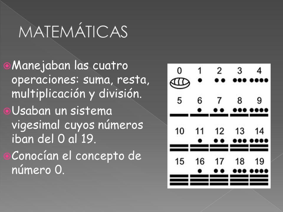 Manejaban las cuatro operaciones: suma, resta, multiplicación y división. Usaban un sistema vigesimal cuyos números iban del 0 al 19. Conocían el conc