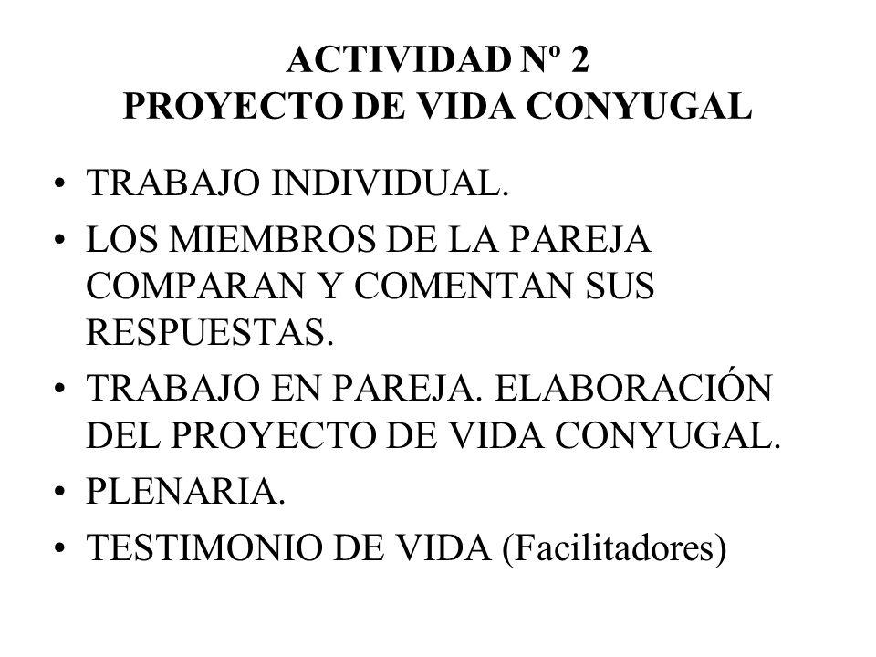 ACTIVIDAD Nº 2 PROYECTO DE VIDA CONYUGAL TRABAJO INDIVIDUAL. LOS MIEMBROS DE LA PAREJA COMPARAN Y COMENTAN SUS RESPUESTAS. TRABAJO EN PAREJA. ELABORAC