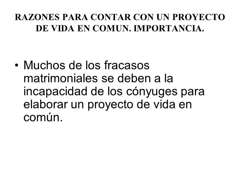 RAZONES PARA CONTAR CON UN PROYECTO DE VIDA EN COMUN.