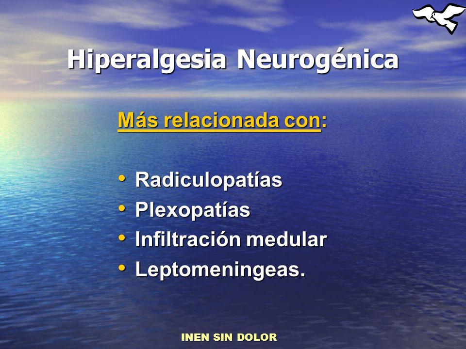 Hiperalgesia Neurogénica Más relacionada con: Radiculopatías Radiculopatías Plexopatías Plexopatías Infiltración medular Infiltración medular Leptomen