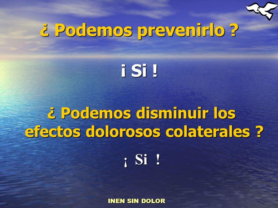 ¿ Podemos prevenirlo ? ¡ Si ! ¿ Podemos disminuir los efectos dolorosos colaterales ? ¿ Podemos disminuir los efectos dolorosos colaterales ? ¡ Si ! I