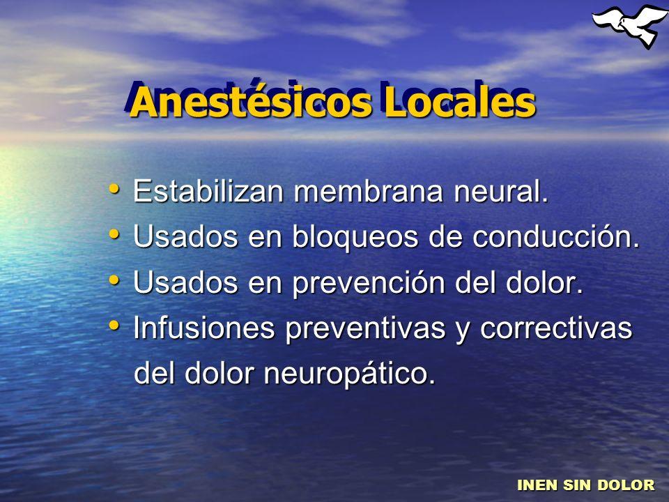 Anestésicos Locales Estabilizan membrana neural. Estabilizan membrana neural. Usados en bloqueos de conducción. Usados en bloqueos de conducción. Usad