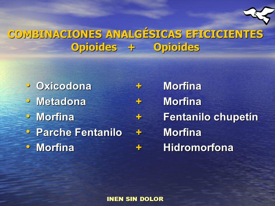 Oxicodona + Morfina Oxicodona + Morfina Metadona +Morfina Metadona +Morfina Morfina+Fentanilo chupetín Morfina+Fentanilo chupetín Parche Fentanilo+Mor