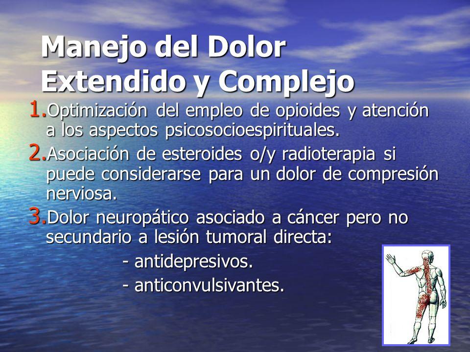 Manejo del Dolor Extendido y Complejo 1. Optimización del empleo de opioides y atención a los aspectos psicosocioespirituales. 2. Asociación de estero