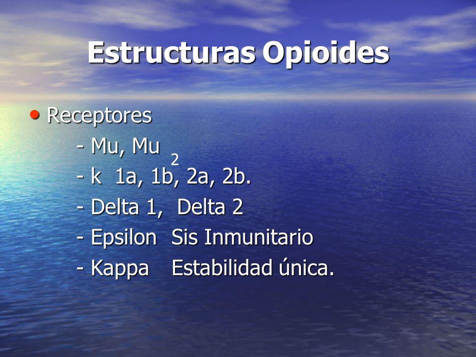 Estructuras Opioides Receptores Receptores - Mu, Mu - k 1a, 1b, 2a, 2b. - Delta 1, Delta 2 - EpsilonSis Inmunitario - KappaEstabilidad única. 2