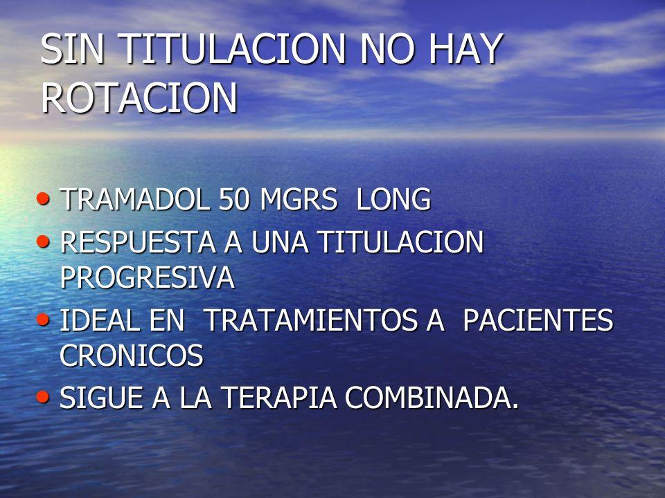SIN TITULACION NO HAY ROTACION TRAMADOL 50 MGRS LONG TRAMADOL 50 MGRS LONG RESPUESTA A UNA TITULACION PROGRESIVA RESPUESTA A UNA TITULACION PROGRESIVA