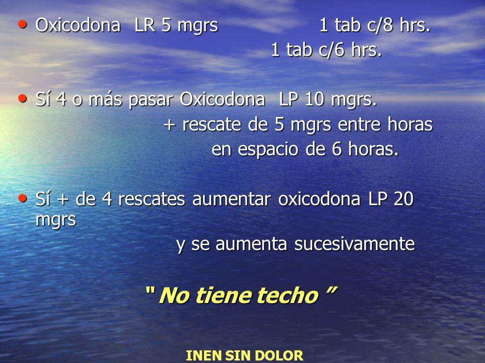 Oxicodona LR 5 mgrs 1 tab c/8 hrs. Oxicodona LR 5 mgrs 1 tab c/8 hrs. 1 tab c/6 hrs. 1 tab c/6 hrs. Sí 4 o más pasar Oxicodona LP 10 mgrs. Sí 4 o más