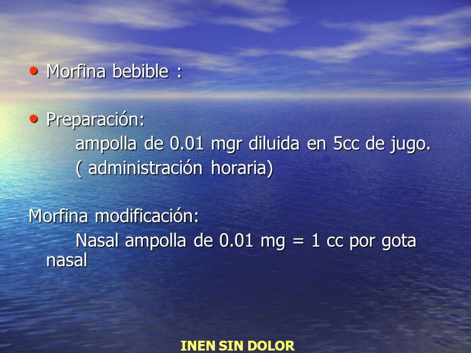 Morfina bebible : Morfina bebible : Preparación: Preparación: ampolla de 0.01 mgr diluida en 5cc de jugo. ( administración horaria) Morfina modificaci