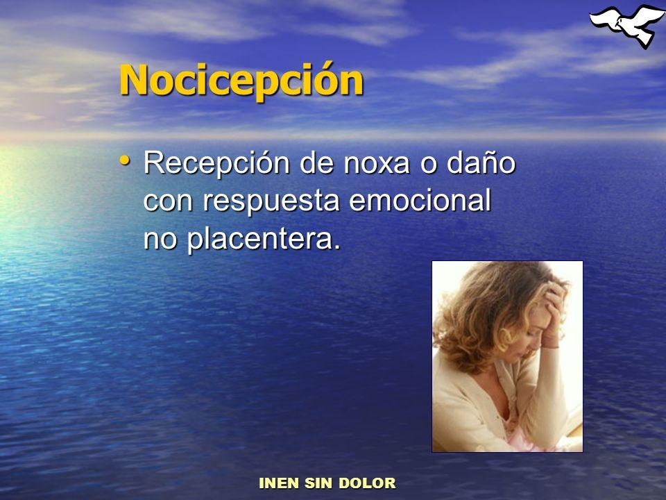 Nocicepción Recepción de noxa o daño con respuesta emocional no placentera. Recepción de noxa o daño con respuesta emocional no placentera. INEN SIN D