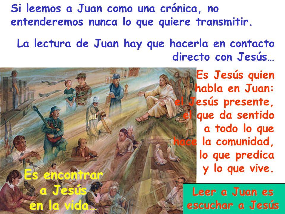 Es Jesús quien habla en Juan: el Jesús presente, el que da sentido a todo lo que hace la comunidad, lo que predica y lo que vive. Si leemos a Juan com