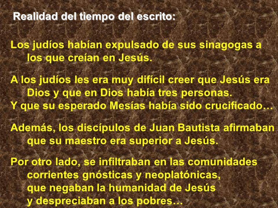 Realidad del tiempo del escrito: Además, los discípulos de Juan Bautista afirmaban que su maestro era superior a Jesús. Los judíos habían expulsado de