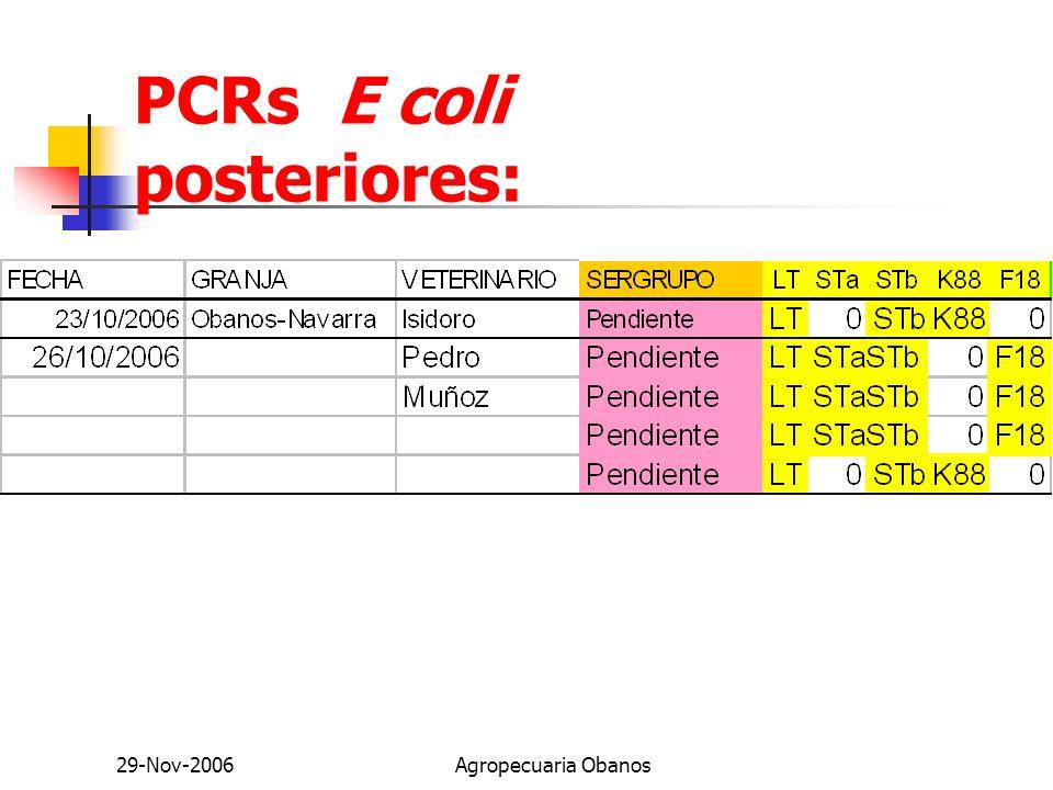 29-Nov-2006Agropecuaria Obanos PCRs E coli posteriores: