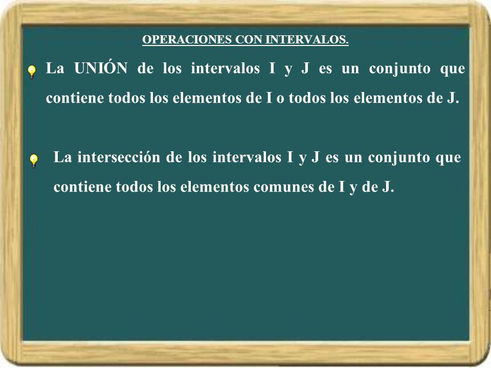OPERACIONES CON INTERVALOS. La UNIÓN de los intervalos I y J es un conjunto que contiene todos los elementos de I o todos los elementos de J. La inter