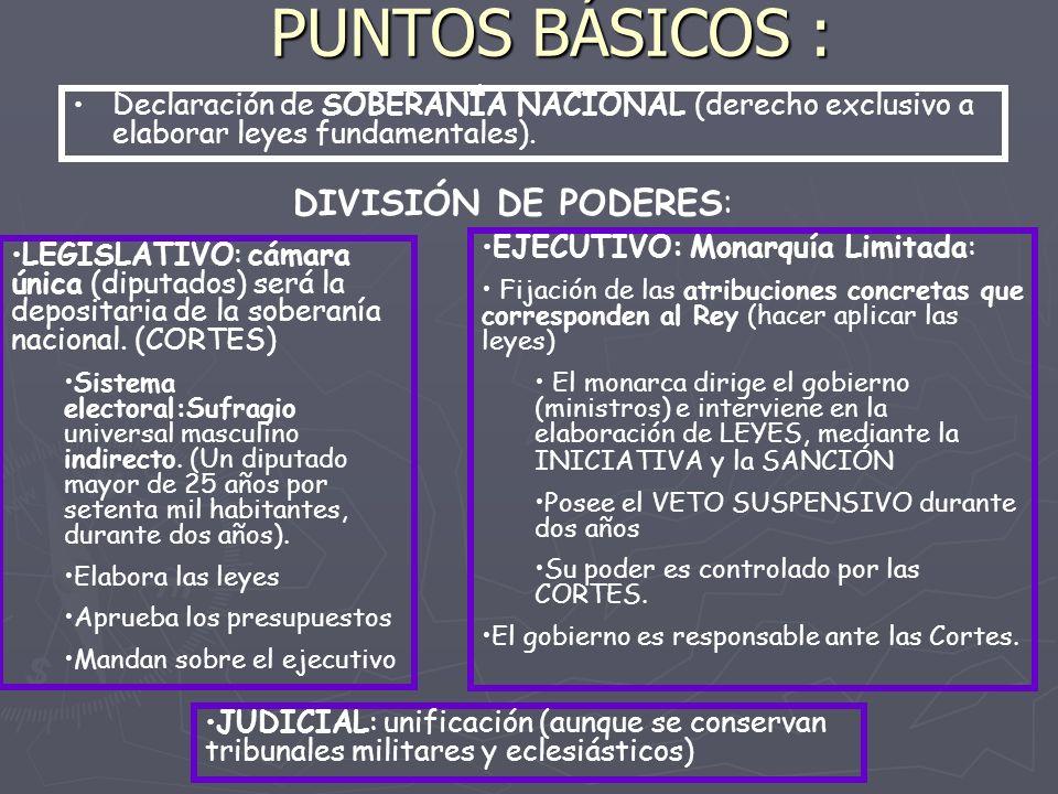 PUNTOS BÁSICOS : Declaración de SOBERANÍA NACIONAL (derecho exclusivo a elaborar leyes fundamentales).