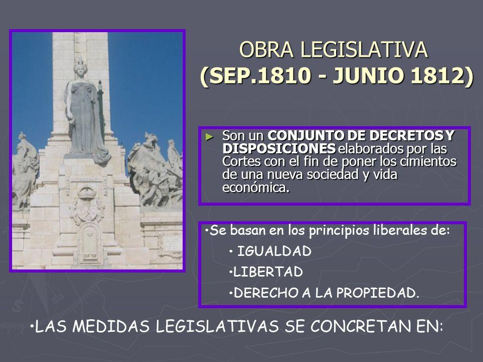 OBRA LEGISLATIVA (SEP.1810 JUNIO 1812) Son un CONJUNTO DE DECRETOS Y DISPOSICIONES elaborados por las Cortes con el fin de poner los cimientos de una nueva sociedad y vida económica.