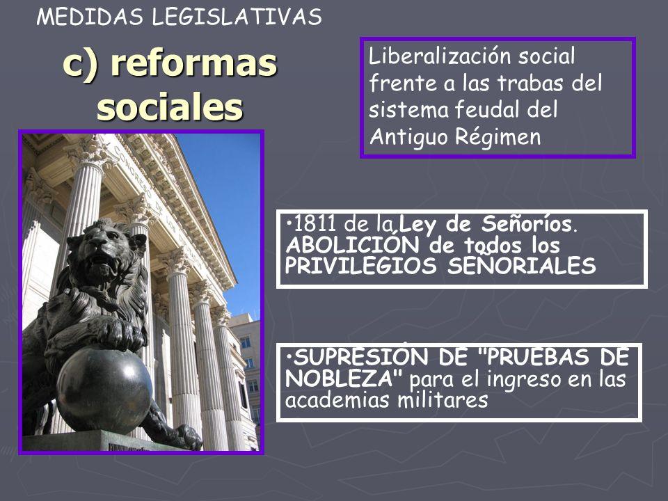 c) reformas sociales 1811 de la Ley de Señoríos. ABOLICIÓN de todos los PRIVILEGIOS SEÑORIALES MEDIDAS LEGISLATIVAS SUPRESIÓN DE
