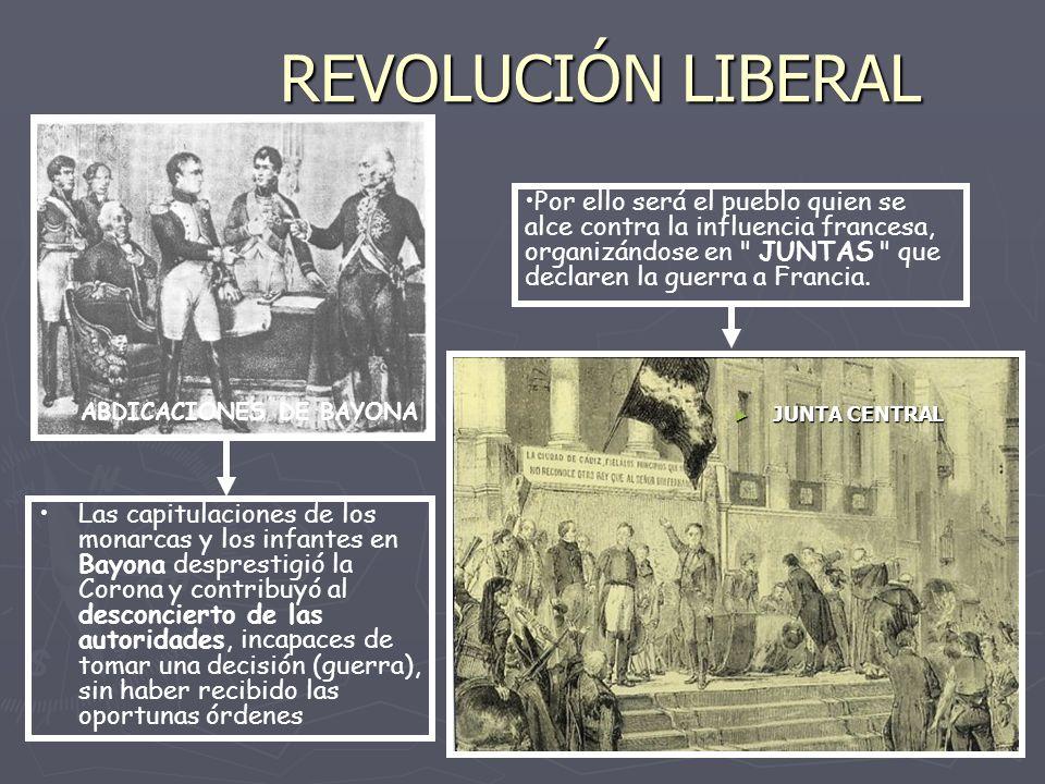 REVOLUCIÓN LIBERAL Las capitulaciones de los monarcas y los infantes en Bayona desprestigió la Corona y contribuyó al desconcierto de las autoridades,