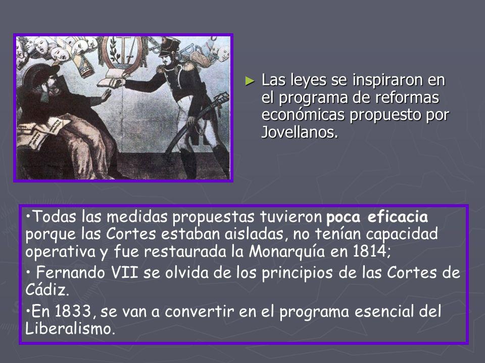 Las leyes se inspiraron en el programa de reformas económicas propuesto por Jovellanos. Todas las medidas propuestas tuvieron poca eficacia porque las