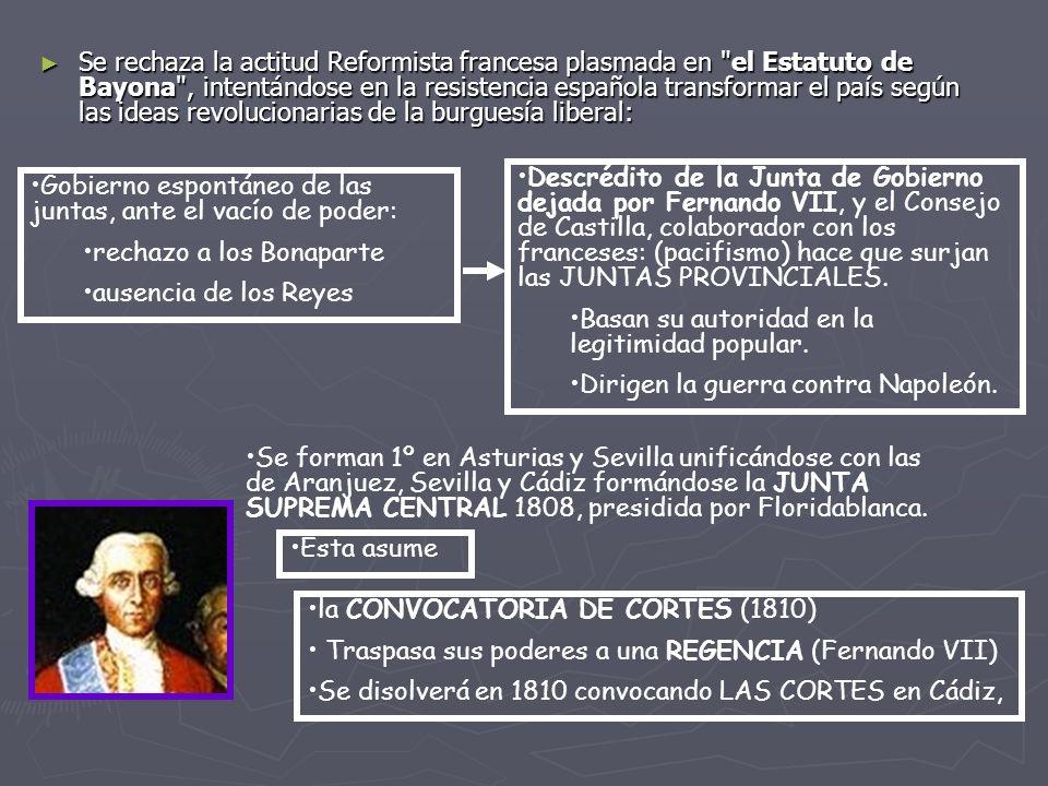 Se rechaza la actitud Reformista francesa plasmada en el Estatuto de Bayona , intentándose en la resistencia española transformar el país según las ideas revolucionarias de la burguesía liberal: Gobierno espontáneo de las juntas, ante el vacío de poder: rechazo a los Bonaparte ausencia de los Reyes Descrédito de la Junta de Gobierno dejada por Fernando VII, y el Consejo de Castilla, colaborador con los franceses: (pacifismo) hace que surjan las JUNTAS PROVINCIALES.