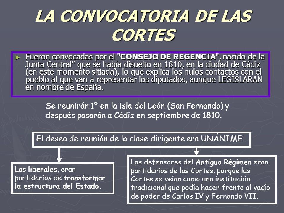 LA CONVOCATORIA DE LAS CORTES Fueron convocadas por el CONSEJO DE REGENCIA , nacido de la Junta Central que se había disuelto en 1810, en la ciudad de Cádiz (en este momento sitiada), lo que explica los nulos contactos con el pueblo al que van a representar los diputados, aunque LEGISLARAN en nombre de España.