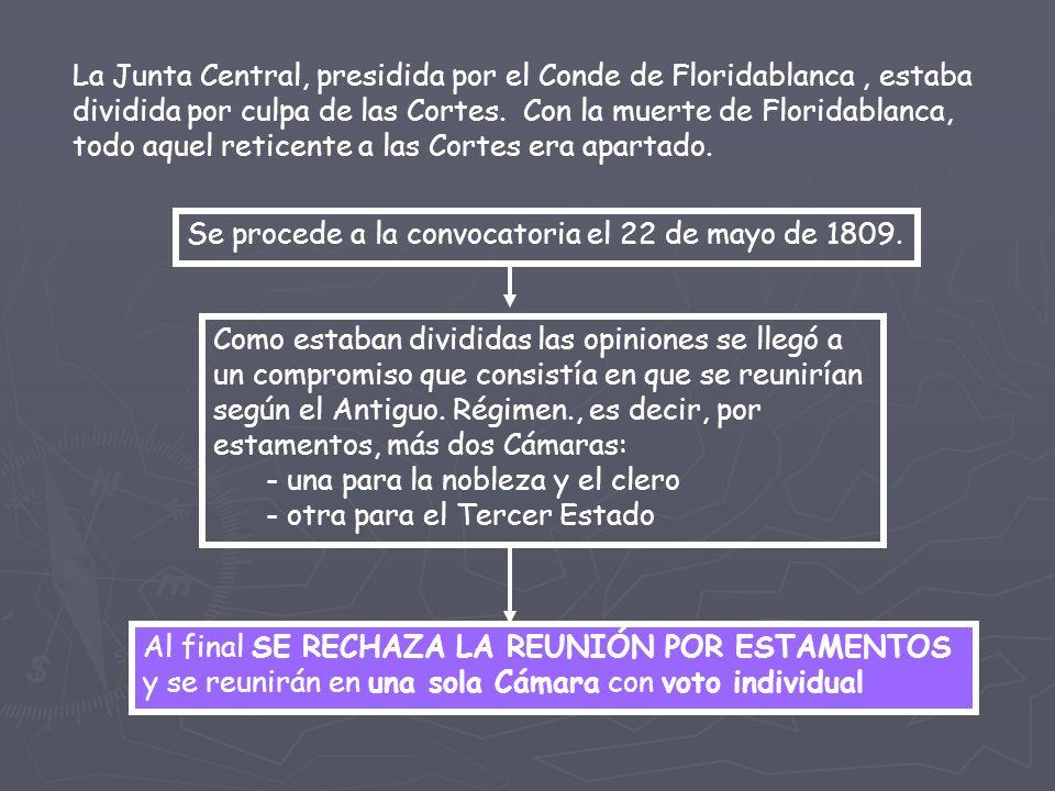 La Junta Central, presidida por el Conde de Floridablanca, estaba dividida por culpa de las Cortes.