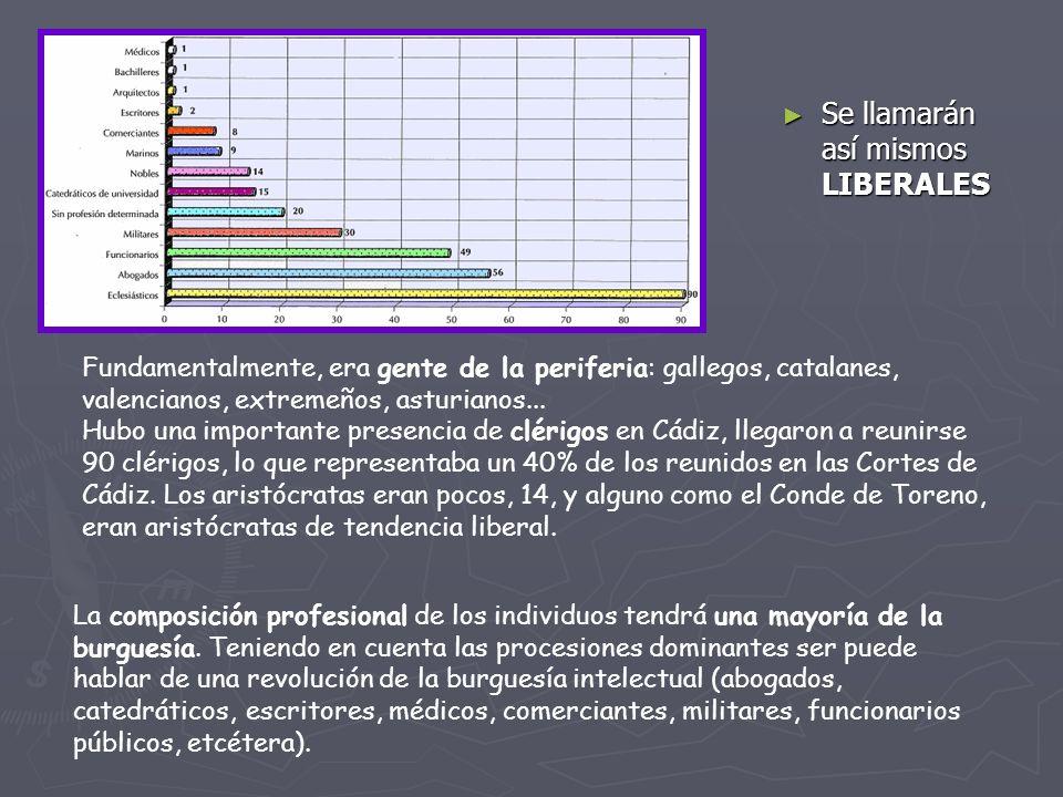 Se llamarán así mismos LIBERALES Fundamentalmente, era gente de la periferia: gallegos, catalanes, valencianos, extremeños, asturianos... Hubo una imp