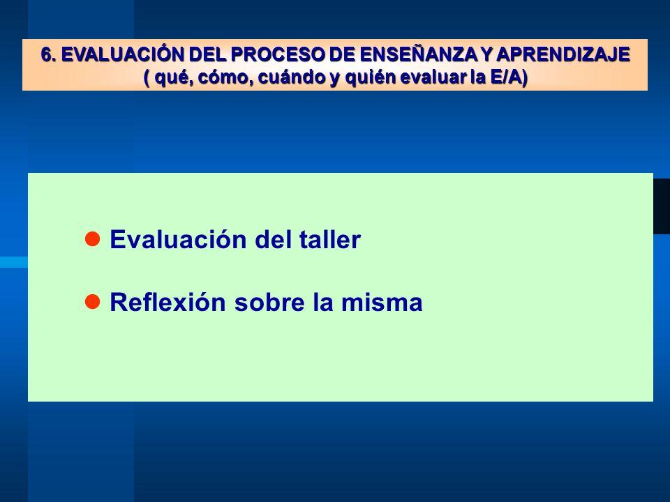 6. EVALUACIÓN DEL PROCESO DE ENSEÑANZA Y APRENDIZAJE ( qué, cómo, cuándo y quién evaluar la E/A) Evaluación del taller Reflexión sobre la misma