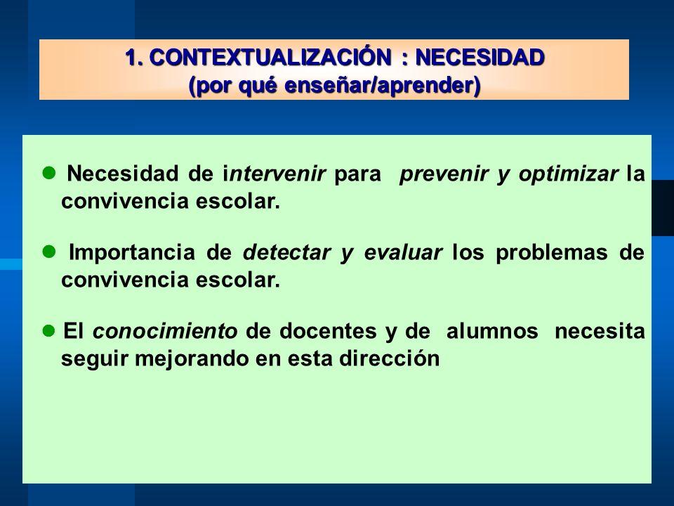 1. CONTEXTUALIZACIÓN : NECESIDAD (por qué enseñar/aprender) Necesidad de intervenir para prevenir y optimizar la convivencia escolar. Importancia de d