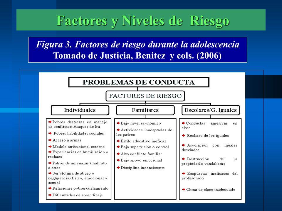 Factores y Niveles de Riesgo Factores y Niveles de Riesgo Figura 3. Factores de riesgo durante la adolescencia Tomado de Justicia, Benitez y cols. (20